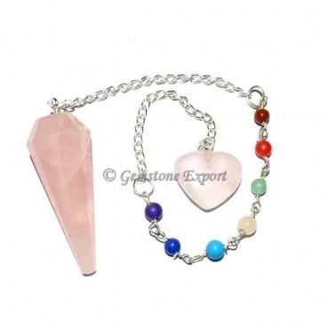 Rose Quartz 12 Faceted Pendulum With Chakra Chain