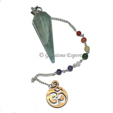 Green Aventruine 12 Faceted Chakra Chain Om