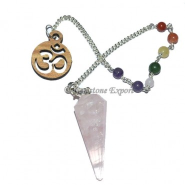 Rose Quartz 12 Faceted Pendulum With 7 Chakra Chai