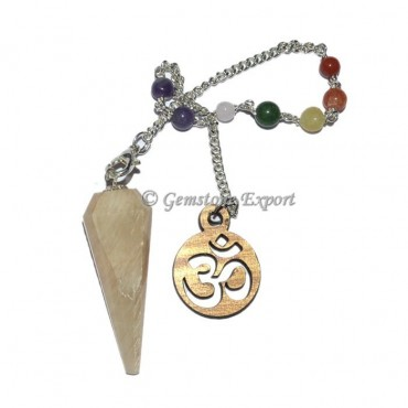 Moonstone 12 Faceted Pendulum With 7 Chakra Chain