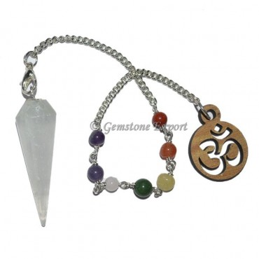 Selenite 12 Faceted Pendulum With 7 Chakra Chain