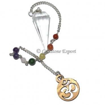 Crystal Quartz 12 Faceted Pendulum With 7 Chakra C