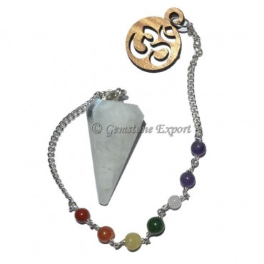 Rainbow Moonstone 12 Faceted Pendulum With 7 Chakr
