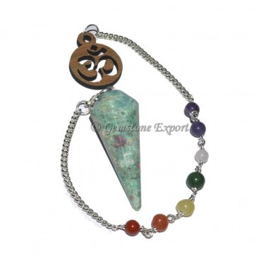 Ruby Zoisite 12 Faceted Pendulum With 7 Chakra Cha