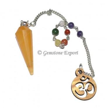 Golden Quartz  12 Faceted Pendulum With 7 Chakra C