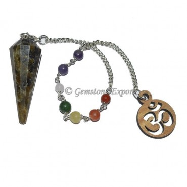 Labradorite 12 Faceted Pendulum With 7 Chakra Chai
