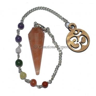 Peach Aventruine 12 Faceted Pendulum With 7 Chakra