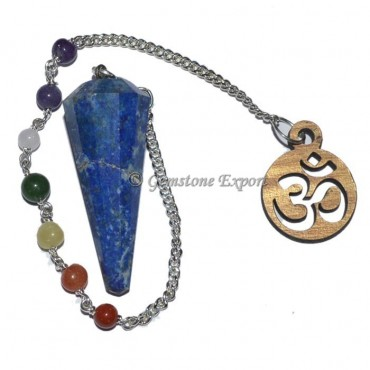 Lapis Lazuli 12 Faceted Pendulum With 7 Chakra Cha