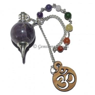 Amethyst Ball Pendulum With Om Chakra Chain