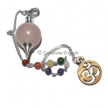 Rose Quartz Ball Pendulum With Om Chakra Chain