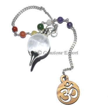 Crystal Quartz Ball Pendulum With Om Chakra Chain