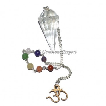 Brazilian Crystal Pendulum With Chakra chain