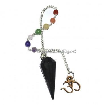 Black Tourmaline Pendulum With Chakra Chain