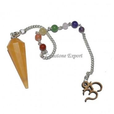 Golden Quartz Pendulum With Chakra Chain