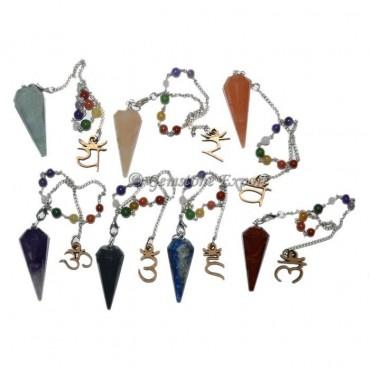 Seven Chakra Pendulum Set With Om Chakra Chain