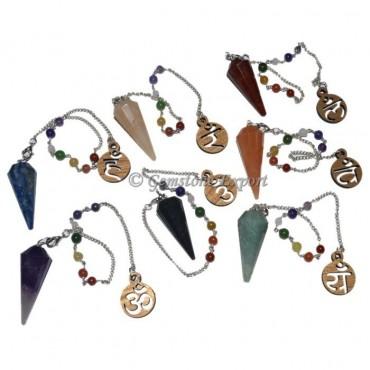 7 Chakra Pendulum Set With Stencil Om Chakra Chain
