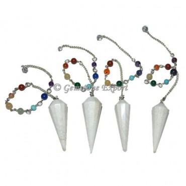 Scolecite 12 Faceted Chakra Pendulum