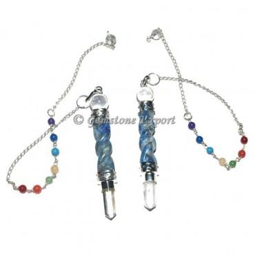 Lapis Lazuli Twisted Spiral 7 Chakra Pendulum