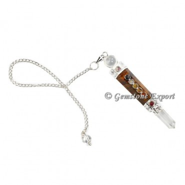 Tiger Eye With Crystal Quartz Seven Chakra Pendulums
