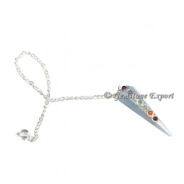 Angelite Seven Chakra Pendulum