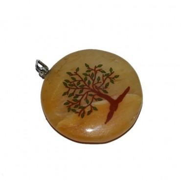 Natural Tree Golden Quartz Printed Stones