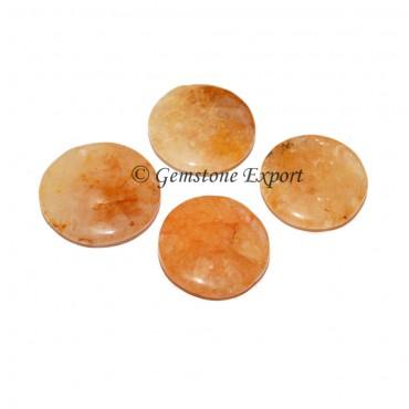 Golden Quartz Round Disc