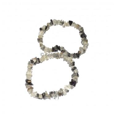 Black Rutile Chips Bracelets