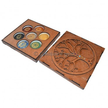 Flower Of life Seven Chakra Engraved Box