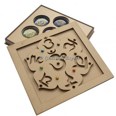 Wooden Reiki Symbol Chakra Gift Box With Chakra Stone