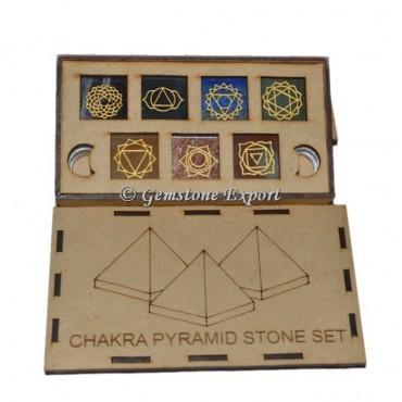 Chakra Pyramid Stone Set Wooden Gift Box