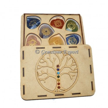 Faceted Chakra Heart Set With Tree OF Life Wooden Gift Box