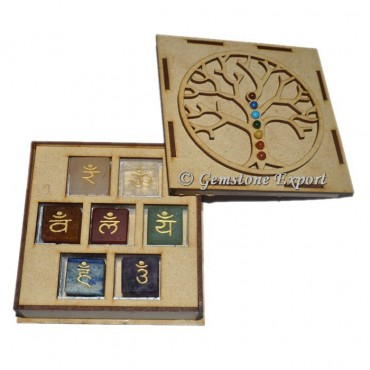 Chakra Sanskrit Cube Set  With Tree OF Life Wooden Gift Box