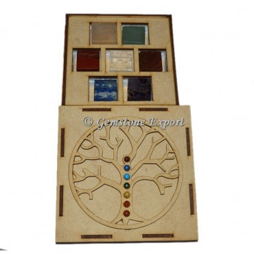 Chakra Cube Plain Set  With Tree OF Life Wooden Gift Box