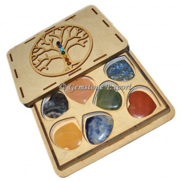 Chakra Heart Plain Set  With Tree OF Life Wooden Gift Box
