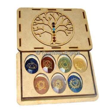Faceted Chakra Oval Set  With Tree OF Life Wooden Gift Box