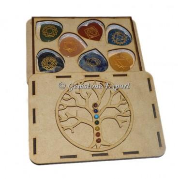Chakra Hearts Set  With Tree OF Life Wooden Gift Box