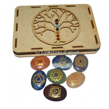 chakra Oval Set  With Tree OF Life Wooden Gift Box