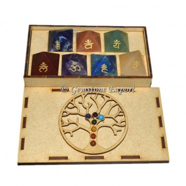 Chakra Pyramid Set  With Tree OF Life Wooden Gift Box