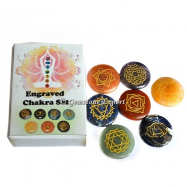 Engraved Seven Chakra Set in Circle with Box
