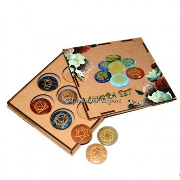 Engraved Seven Chakra set With Wooden Gift Box