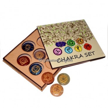 Seven Chakra Set Engraved With Wooden Gift Box