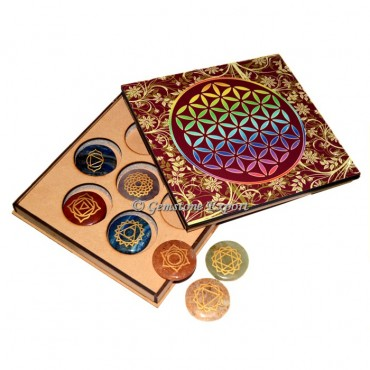 Engraved Seven Chakra Set With Flower of Life Gift Box