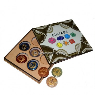 Engraved Seven Chakra Disc Set With Printed Wooden Gift Box