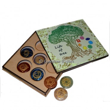 Engraved Seven Chakra Set With Life of Tree Gift Box