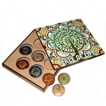 Seven Chakra Set With Tree of Life Wooden Gift Box