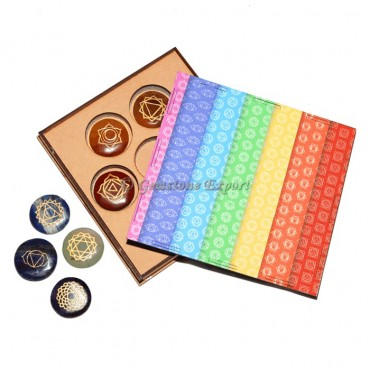 Engraved Seven Chakra Set With Rainbow Gift Box