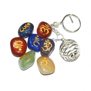 Chakra Sanskrite Tumbled Keychain Set