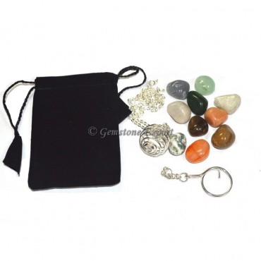 Chakra Stone Tumbled Keychain-Necklace Set