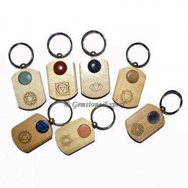 Wooden Chakra Keychain Set