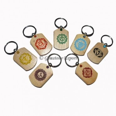Wooden Printed Color Symbol Chakra Keychain